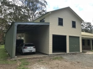 Two Story shed with a attached Awning front - Medowie