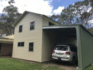 Two Story shed with a attached Awning rear - Medowie